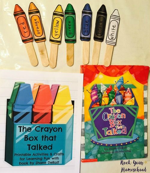 Crafts & free printable activities to go with The Crayon Box that Talked.