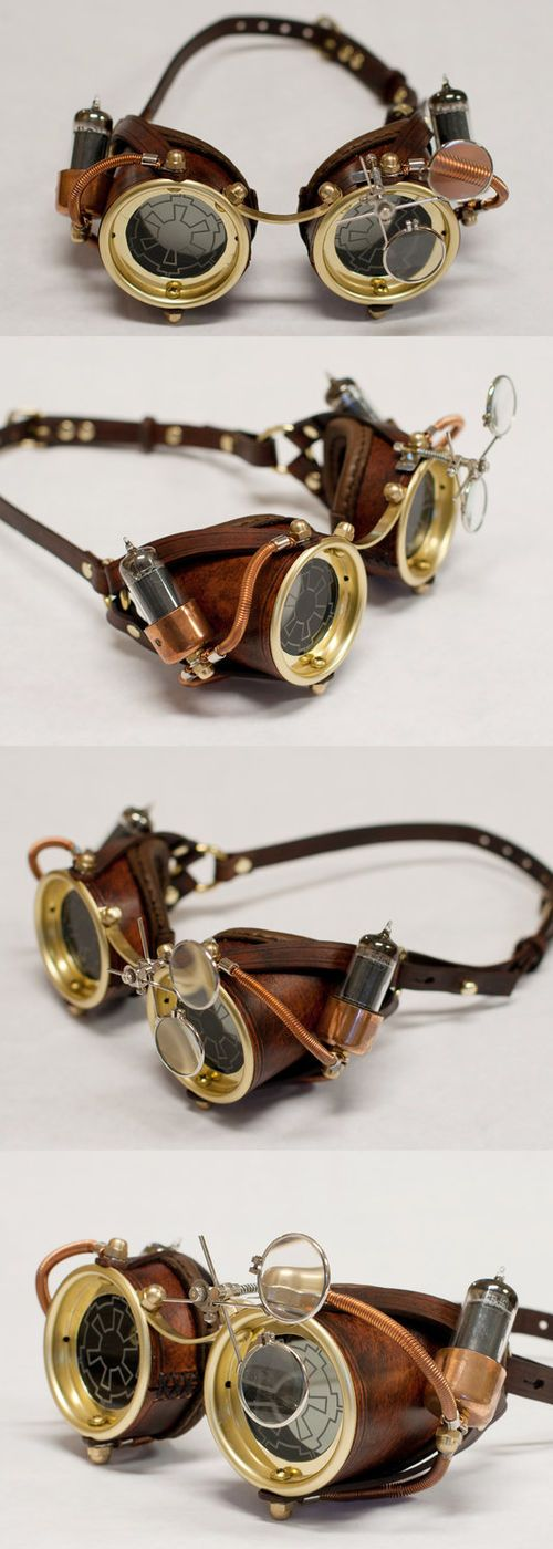 Steampunk Goggles - Made from hand stitched leather, copper, vacuum tubes, and…