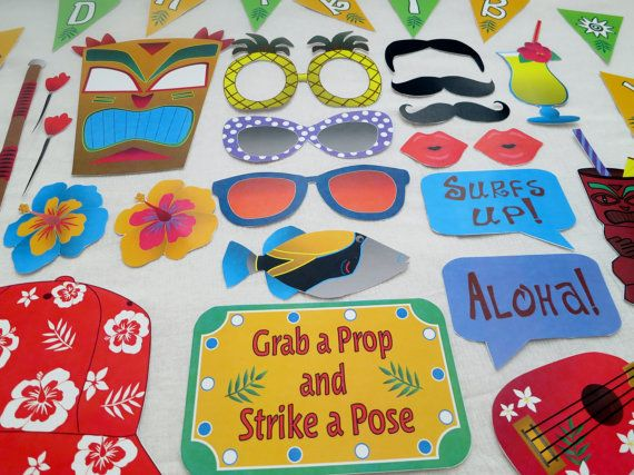 PDF Hawaiian Luau Photo Booth Props PRINTABLE / by chelawilliams