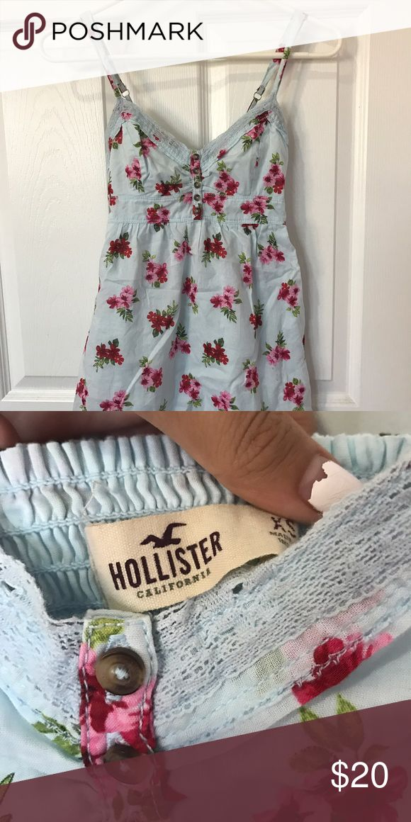 Hollister Dress Baby blue dress with flowers on it! Worn once! Hollister Dresses Mini
