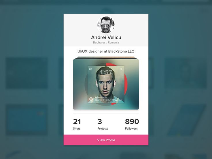 Dribbble Profile Card by Andrei Velicu
