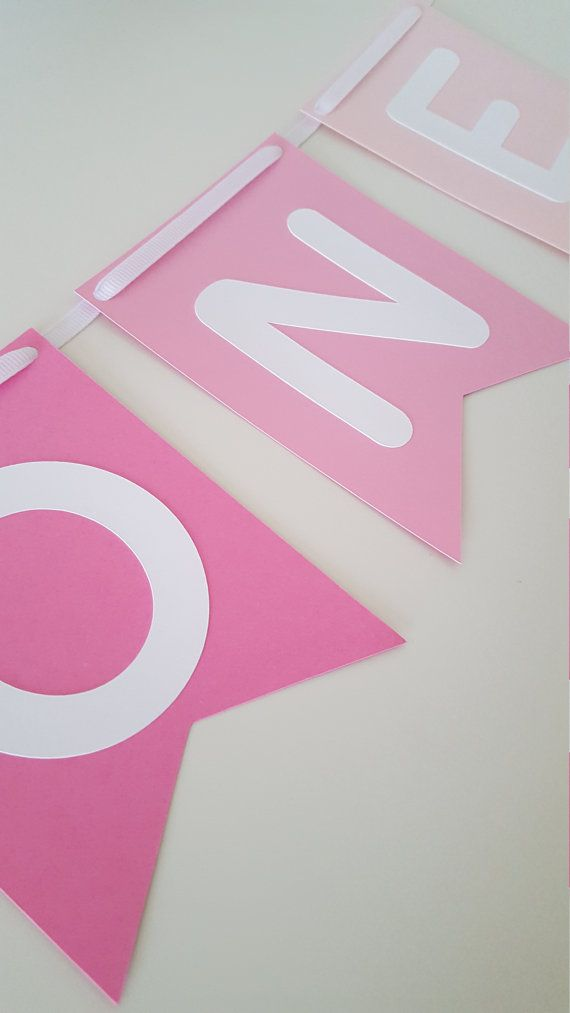 Pink Ombre One High Chair Banner One Pink High by ThePaperPropShop