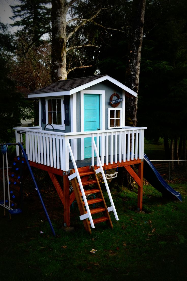 How to build an indoor tree house play loft and drill into the studs - Our Kids Playhouse
