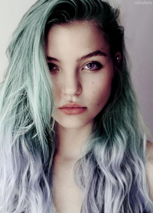 Pastel green blue hair.