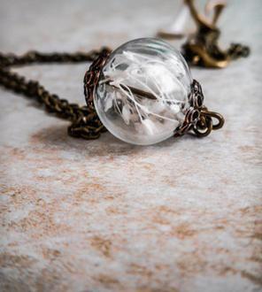 Tiny Baby's Breath Round Pendant Necklace
