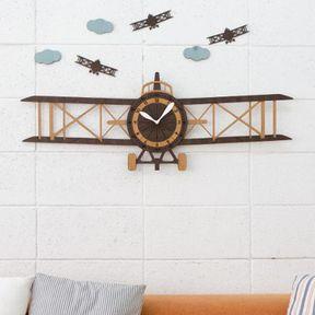 子供部屋に人気の飛行機モチーフ 掛け時計 シートラベル