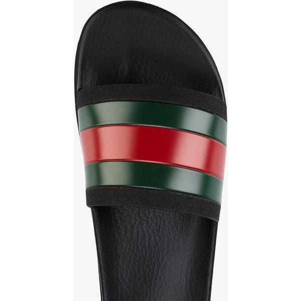 Gucci Black Web Slides ($190) ❤ liked on Polyvore featuring men's fashion, men's shoes, men's sandals, mens slip on sandals, gucci mens shoes, mens slip on shoes, gucci mens sandals and mens black slip on shoes