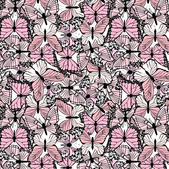 butterfly pattern fashion illustration