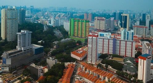 Singapore skyline from Duxton Pinnacle Sky Bridge