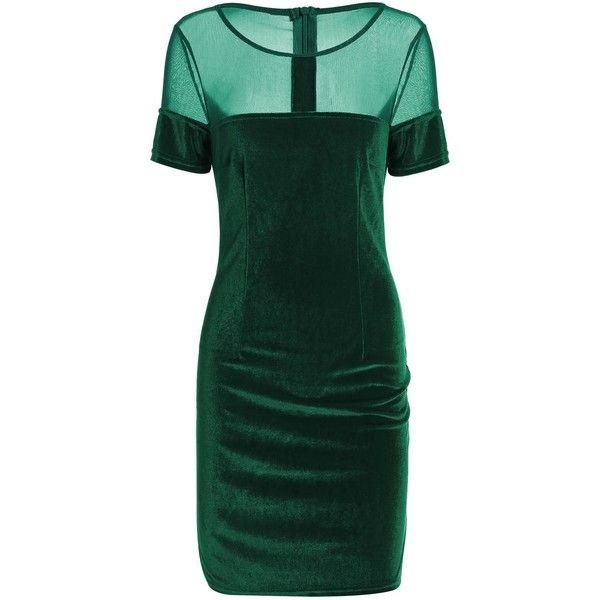 Velvet Fitted Mini Bandage Dress (29 BAM) ❤ liked on Polyvore featuring dresses, short fitted dresses, fitted cocktail dresses, short green dress, short dresses and velvet dress