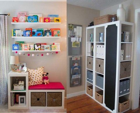 También en Joli Place hemos fichado estas ideas para conseguir la segunda (y la tercera) vida de tu estantería modular. En un dormitorio infantil, a modo de cómodo asiento para sus lecturas o colocadas con un tablero de pizarra y cajones, como si fuera un armario diferente y muy práctico.