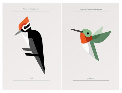 """Cool bird prints from Josh Brill. Josh is the man behind Lumadessa, a little art and design label out Portland, Maine. The prints are from his Flora Fauna collection which catalogs the design identities of plants and animals from around the world."" via grainedit"
