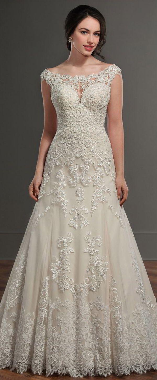Marvelous Tulle Bateau Neckline A-Line Wedding Dress With Lace Appliques & Beadings