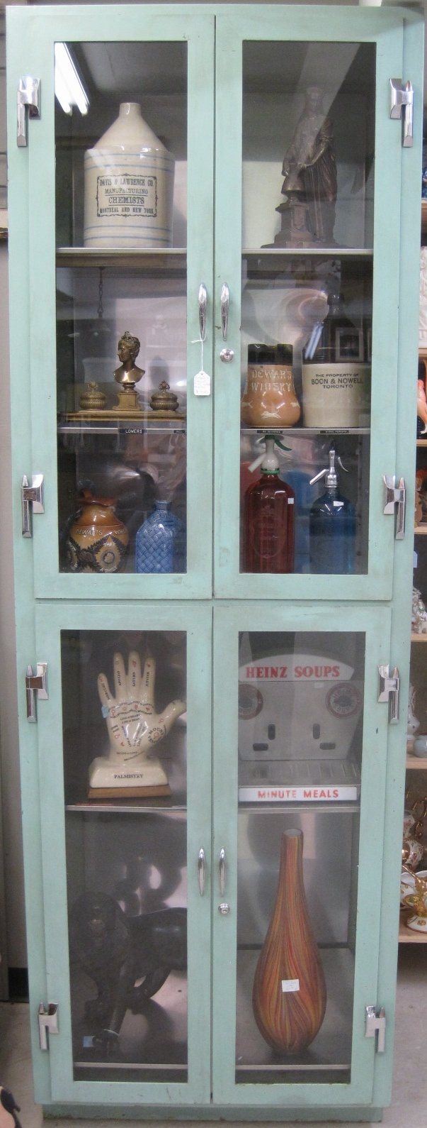 turquoise vintage medical cabinet