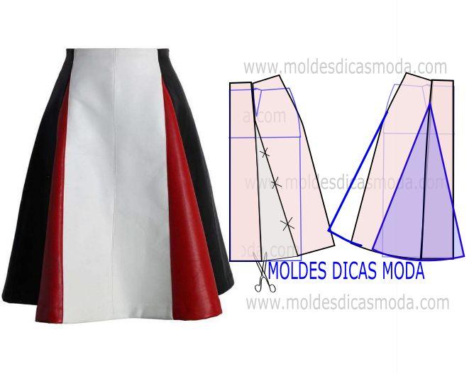 O molde de saia evasê nas laterais está explicado com grande rigor e em pormenor no desenho, para que concluam a modelagem da saia com mais facilidade.