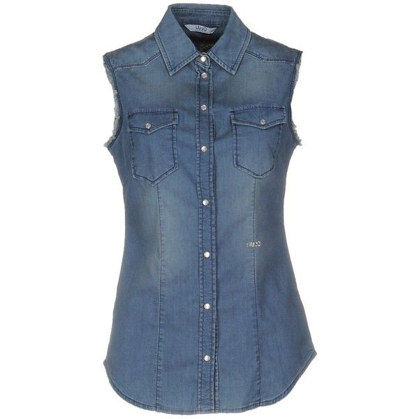 Liu •jo Jeans Denim Shirt (€95) ❤ liked on Polyvore featuring tops, blue, denim shirts, sleeveless tops, blue sequin shirt, sleeveless denim shirt and blue sleeveless top