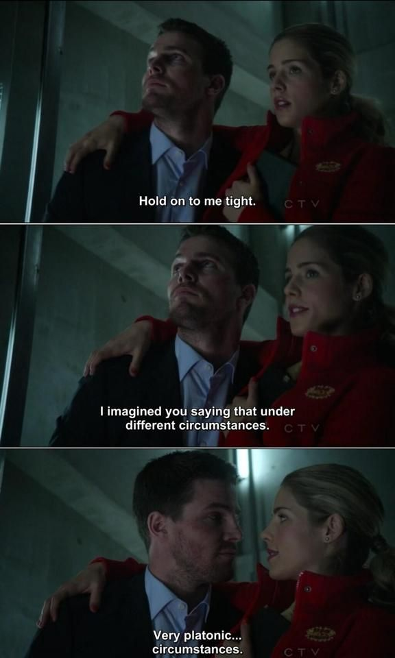 CW Arrow ~ Olicity ~ Oliver: Hold on to me tight. ~ Felicity: I imagined you saying that under different circumstances. ~ *Oliver looks* ~ Felicity: Very…platonic circumstances.