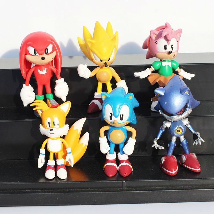 NEW Hot 6pcs/set Sonic the Hedgehog Tails Knuckles the Echidna Amy Rose PVC Action Figure toys Christmas gift toy no box