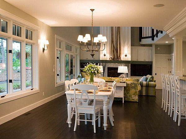 Inspirational Craftsman Homes Interior Ideas: Bright Craftsman Style Homes Decor Ideas Dining Room Wooden Floor