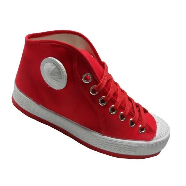 Hoge basket CEBO-schoen met een rode zool in het kleur rood.