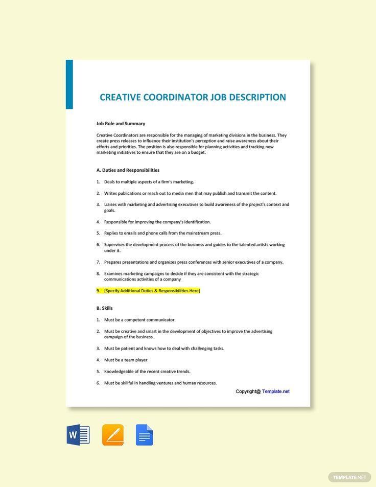 Free Creative Executive Job Description in 2020 Job