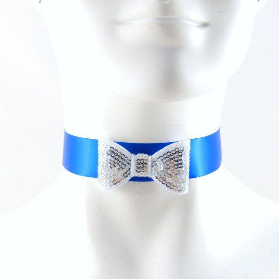 Women Silver Bow Tie Choker Blue Satin Necklace  Sexy by Arthlin