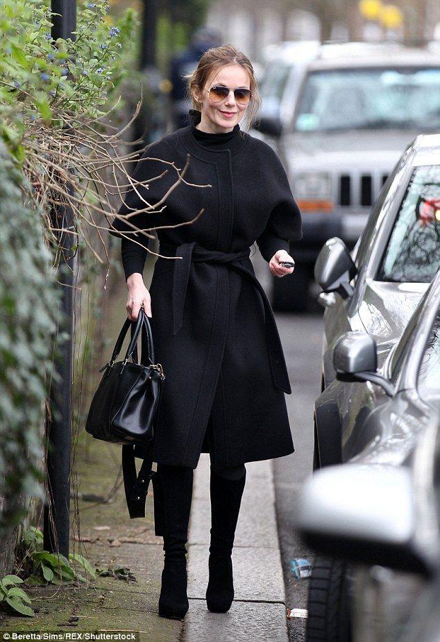 Geri Horner wearing a Saint Laurent coat.