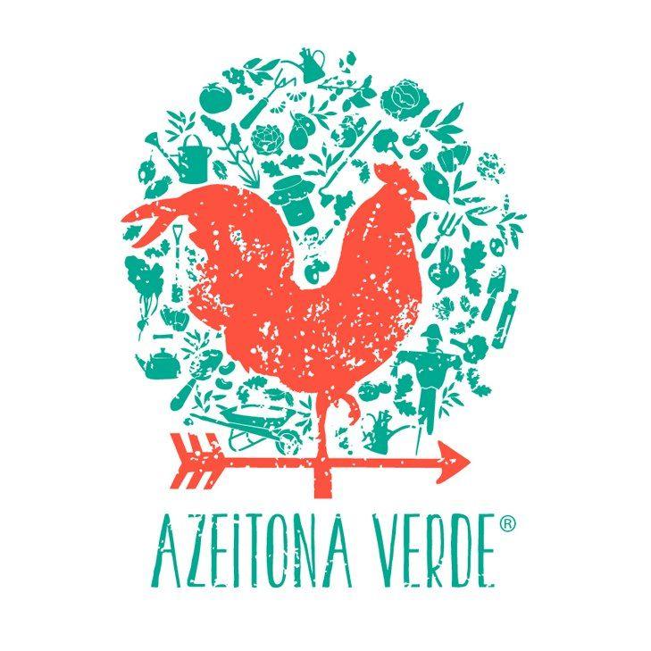 """Azeitona Verde"" Organic Farm in Marvão, PORTUGAL Logo''    Fun use of shapes and color."
