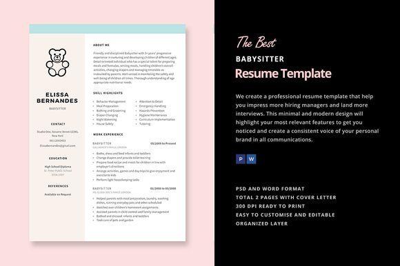 Nice Babysitter Resume Template CreativeWork247 - Fonts, Graphics - resume for babysitter