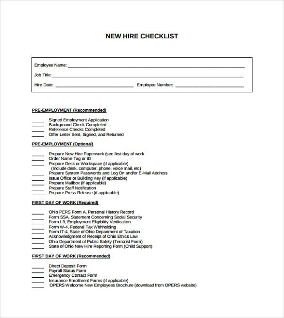 New Hire Checklist Template Checklist Template Free Brochure