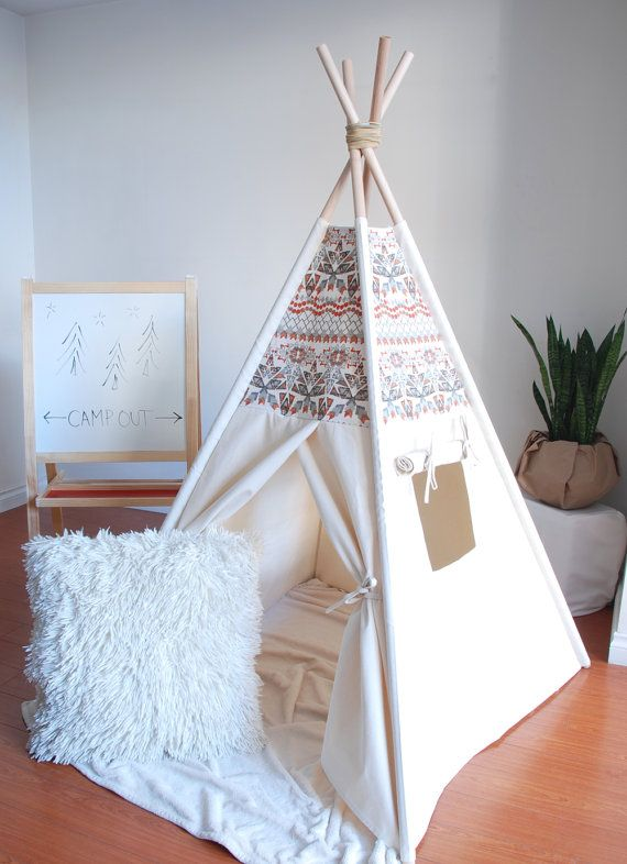Natural Canvas Teepee Aztec Teepee Play Tent by ShopLittleWanderer