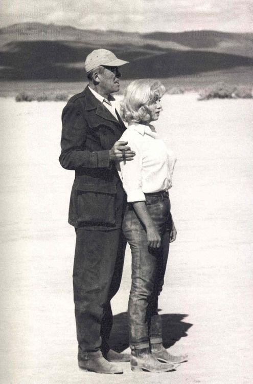 John Huston and Marilyn Monroe on the set of The Misfits (1961)