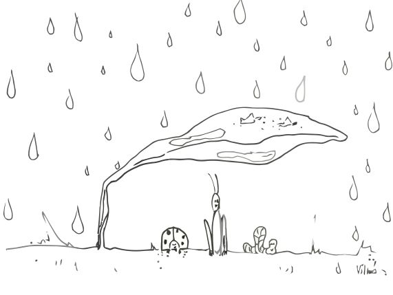 rain illustration with little cutes