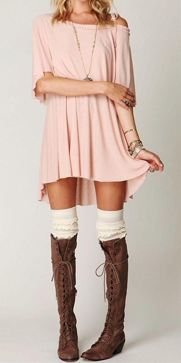 Off the shoulder dress, Knee high socks & Knee high lace ... Knee High Socks Summer Outfits