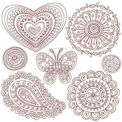 Hand Drawn Henna Mehndi Heart Flower Butterfly And Paisley Doodle