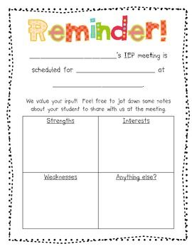 Parent Input and Reminder Form for IEP Meetings | My job ...