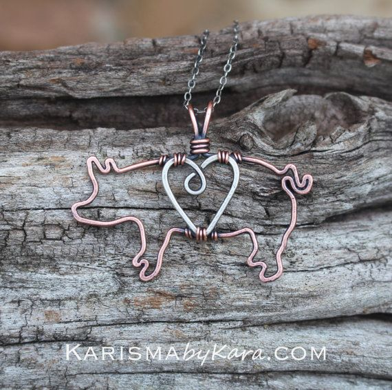 Pig Necklace Copper Sterling Silver Heart por Karismabykarajewelry