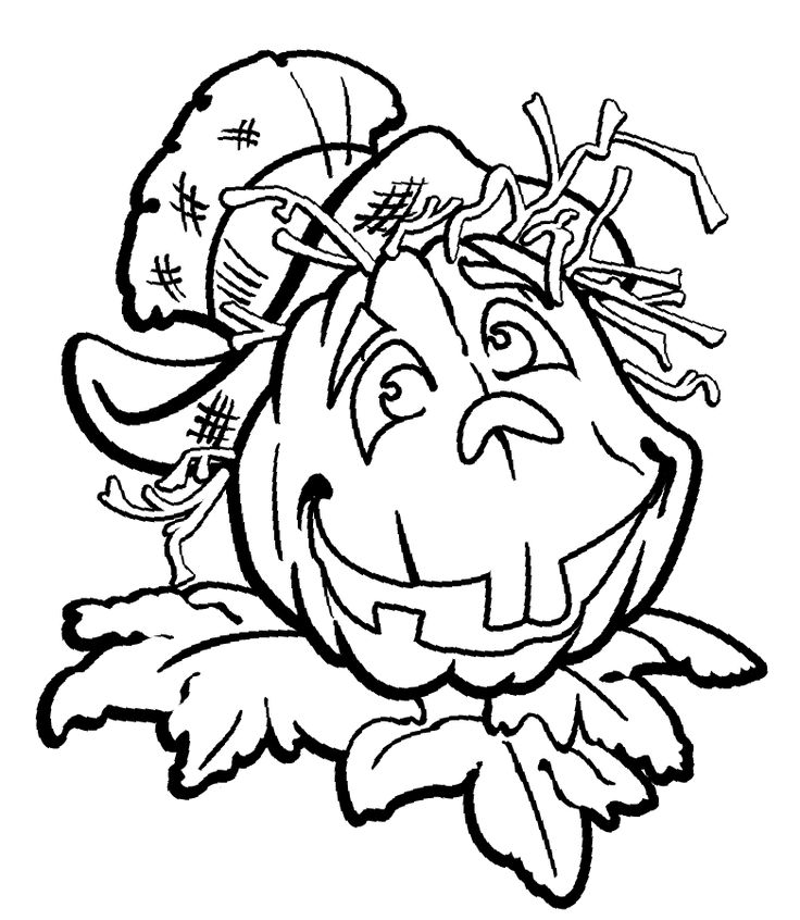 Carved Pumpkin Head Jack OLantern Hallowen Colouring Page