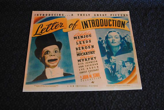 Ventriloquist movie Charlie McCarthy Edgar Bergen Great Gabbo television advertisement and lobby card copy prints