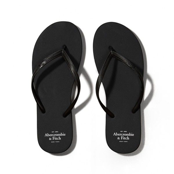 Abercrombie & Fitch Rubber Flip Flops ($7.50) ❤ liked on Polyvore featuring shoes, sandals, flip flops, sapatos, flats, pure black, rubber flats, flats black shoes, black flats and black flat shoes