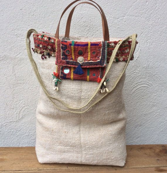 Graanzak tote bag with tribal details by KussenvanPaula on Etsy
