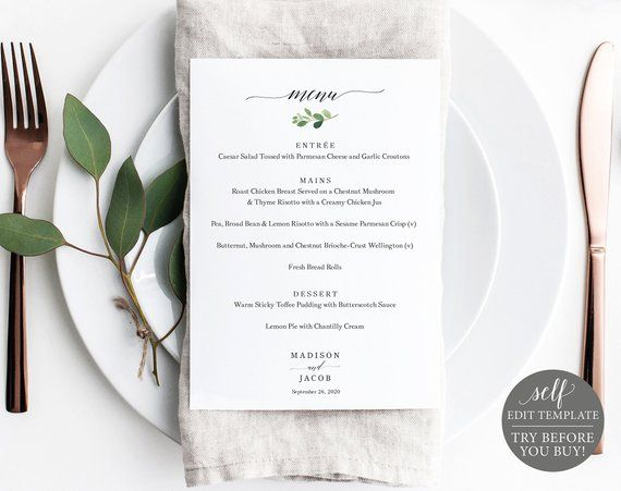 Wedding Menu Template Greenery Leaf Printable Menu Card 5x7 Etsy Wedding Menu Template Wedding Menu Printable Menu Cards