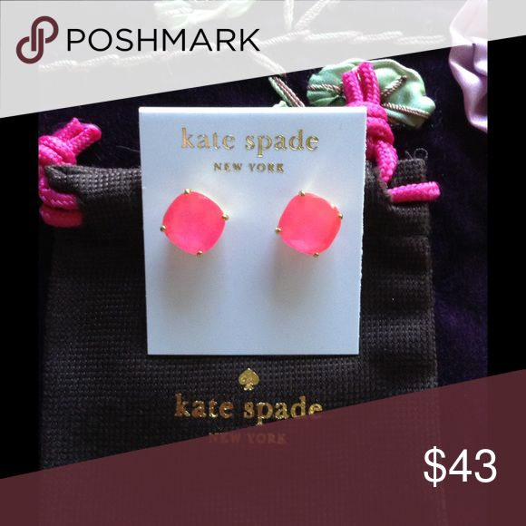 """Pink Small Square Studs NWT Pink Small Square Studs. Handcrafted, 14 karat gold filled posts.NWT.  Arrives in Kate spade pouch.    Size 0.5"""" H X 0.5"""" W kate spade Jewelry Earrings"""