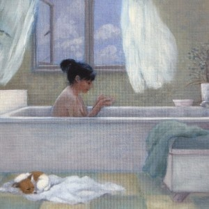 The Apprehensive Gardner by Marcelle Milo-Gray, best fine art greeting card, blank inside. Lady having a bath greeting card.