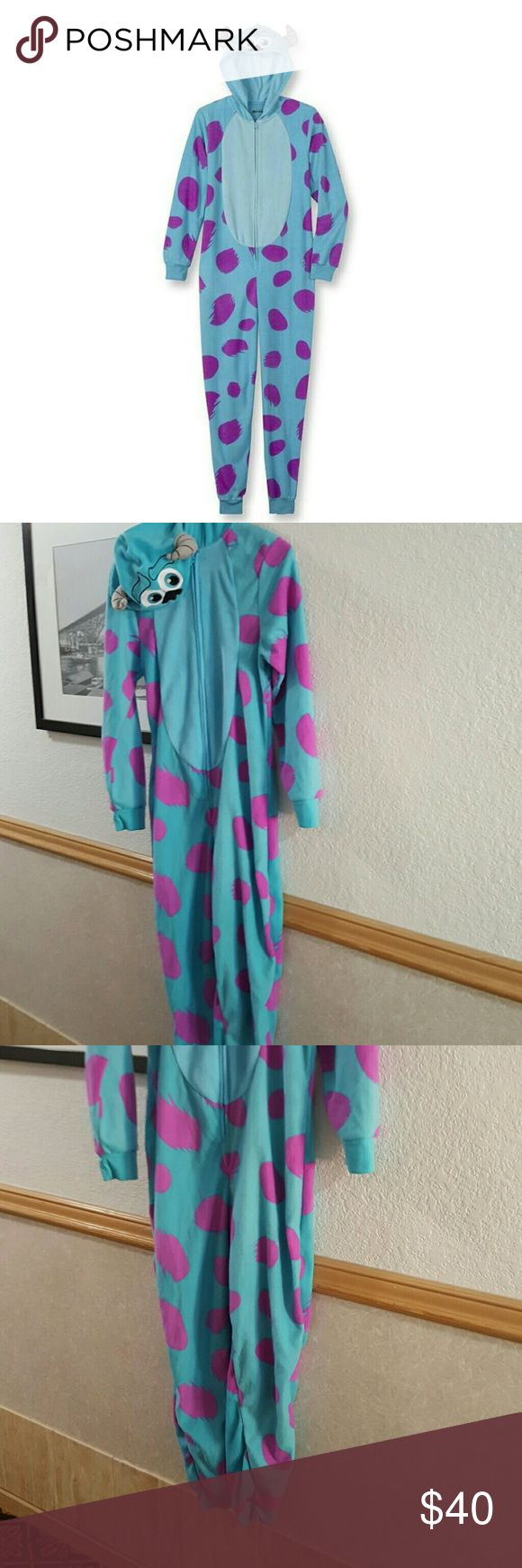 """Women's Disney Monsters, Inc. Hooded Onsie Pj Women's Disney Monsters, Inc. Hooded One-Piece Pajama Blue Sully Onesie. 56"""" not including hood Disney Intimates & Sleepwear Pajamas"""