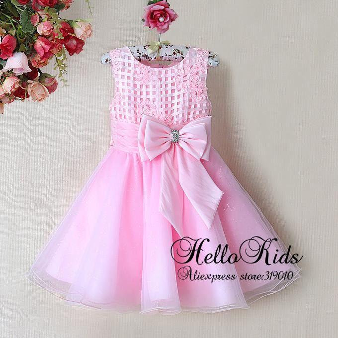 Yeni Gelis Çocuk Çiçek Elbiseler Bow Kız Ile Bebek Pembe Prenses Parti Elbise 2014 Yeni Yıl Moda Çocuk Hazır Giyim Hazır $104.59