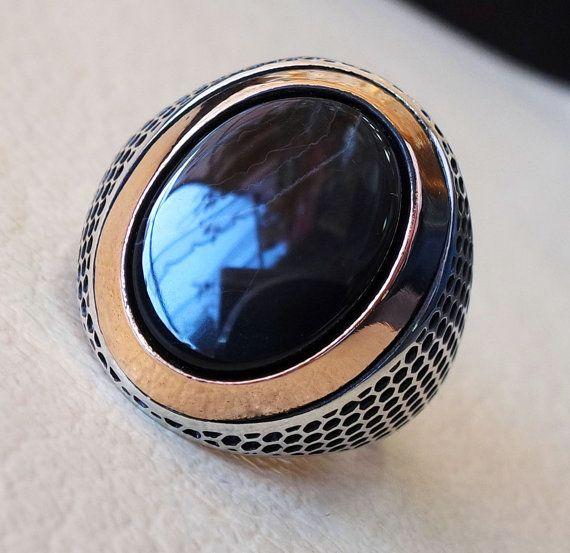 los hombres turcos anillo negro ónice ágata aqeeq plana plata