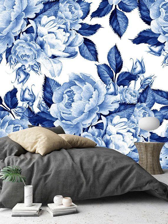 Removable Wallpaper Mural Peel Stick Self Adhesive Wallpaper Blue Peonies Flowers Chinoiserie Sty In 2020 Blue Floral Wallpaper Mural Wallpaper Blue Flower Wallpaper