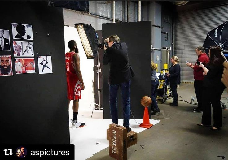 Behind the scenes by @aspictures |  When your shooting space is the entrance to the loading dock at the Toyota center in Houstonyou turn it into a mini photo studio to photograph James Harden for the newest cover story for @texasmonthly magazine.  Our ace crew took a 9 white seamless and taped it vertically to the wall and then rolled it out on the floor turning a 9 seamless into a 16 wide cove.  To the left image reference.  To the right people on their cel phones.  At center a basketball…