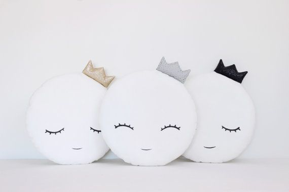 Handmade decorative white moon pillow with a gold, gray or black crown.  Fabric 100% cotton on both sides of the pillows and hypoallergenic poly